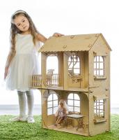 Кукольный дом, средний размер, фанера: 3 мм. (2 этажа) 3310270