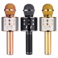 Микрофон караоке WS-858 (KTV-858), с круглым динамиком, беспроводной, bluetooth