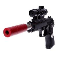 Пистолет пневматический детский «Агент», стреляет 4 видами пуль, с лазером 6944080