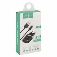 Зарядное уст-во с кабелем USB-MicroUSB HOCO C12 Черный (5B, 2400mA)