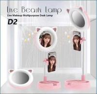 Настольное световое кольцо с зеркалом и ушками (Кошка). LIVE BEAUTY LAMP