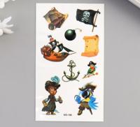 """Татуировка на тело цветная """"Пираты"""" 10,5х6 см   5074845"""