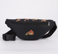 Сумка поясная «Пицца», 32х8х15 см, отдел на молнии, наружный карман, цвет чёрный 5467256