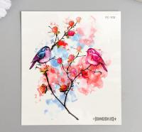 "Татуировка на тело цветная ""Птицы на розовом кусте"" 12х10,5 см   6302344"