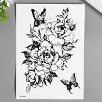 """Татуировка на тело чёрная """"Розы и бабочки с тенями"""" 21х15 см   7040511"""