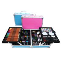 """Художественный набор 145 предметов """"синий/розовый"""" (жел. чемоданчик)"""