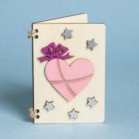 Деревянная открытка сердечко и звездочки 7338424