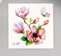 """Татуировка на тело цветная """"Цветущий шиповник с бабочкой"""" 6х6 см   5084752"""