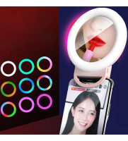 Светодиодное кольцо на прищепке с зеркалом (диаметр 11см) ЦВЕТНОЕ от USB