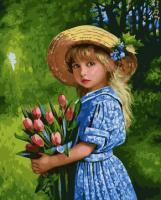 ZX 21950 Девочка с тюльпанами
